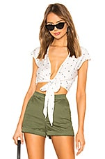 superdown Nellie Tie Top in White & Black