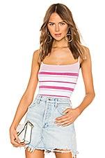 superdown Dionne Striped Knit Bodysuit in Pink Multi