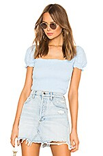superdown Kylie Smocked Top in Light Blue