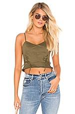 superdown Emma Lace Up Front Top in Olive