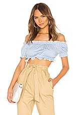superdown April Off Shoulder Top in Light Blue