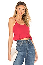 superdown Belle Ruffle Cropped Tank in Berry