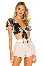 superdown Kaylie Tie Front Top in Black Floral