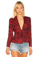 superdown Desiray Satin Blazer in Red Leopard