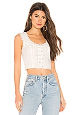 superdown Rumor Lace Up Top in White