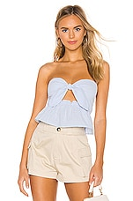 superdown Courtnee Tie Front Top in Blue