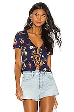 superdown Ciara Tie Front Top in Navy Floral