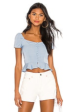 superdown Bailey Button Front Top in Dusty Blue