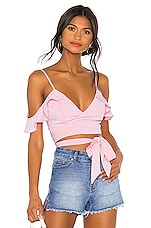 superdown Tiffani Wrap Tie Top in Pink