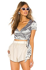 superdown Graysen Wrap Tie Top in Grey Polka Dot
