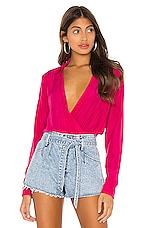 superdown Presely Surplice Bodysuit in Hot Pink