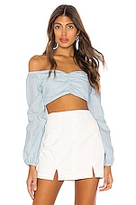 superdown Macy Balloon Sleeve Top in Blue