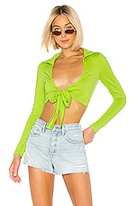 superdown Riley Tie Front Top in Lime Green