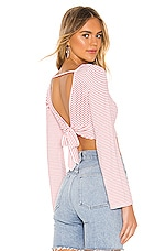 superdown Bethany Tie Back Top in Red & White