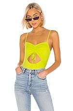 superdown x Chantel Jeffries Sarah Cut Out Bodysuit in Lime Green