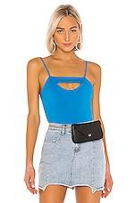 superdown Lexa Cut Out Bodysuit in Aqua Blue
