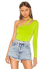 superdown Jaylee Asymmetrical Bodysuit in Lime Green