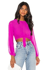 superdown Jemma Tie Front Shirt in Fuchsia