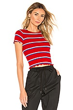 superdown Nikkie Striped Crop Tee in Red Multi