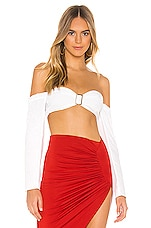 superdown Erin Buckle Crop Top in White