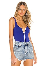superdown Candace Zip Bodysuit in Blue