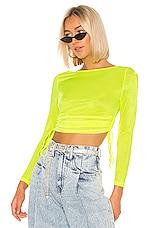 superdown Tomsen Sheer Mesh Top in Neon Yellow