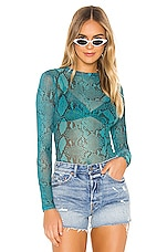 superdown Shauna Mesh Top in Blue Snake