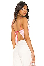 superdown Cambria Tie Back Top in Pink Plaid