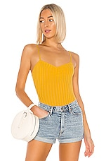 superdown Lany Ribbed Cami Bodysuit in Mustard
