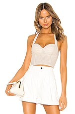 superdown Rudy Halter Top in Beige & White