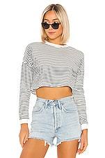 superdown Grace Knit Stripe Top in Black & White Stripe