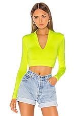 superdown Nicky Zip Crop Top in Neon Yellow