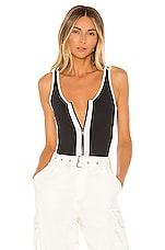 superdown Lexia Zip Front Bodysuit in Black & White