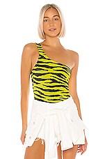 superdown Liv One Shoulder Bodysuit in Yellow Tiger