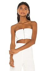 superdown Josie Front Zip Tube Top in White