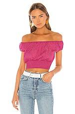 superdown Arina Sheer Crop Top in Hot Pink