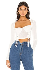superdown Aniah Lace Up Top in White