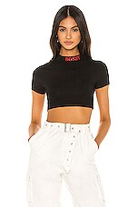 superdown Vanna Cropped Mock Neck Top in Black