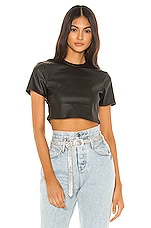 superdown Jeneane Faux Leather Top in Black