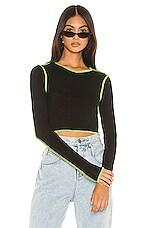 superdown Alisha Contrast Thread Top in Black