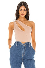 superdown Nava Asymmetrical Crop Top in Nude