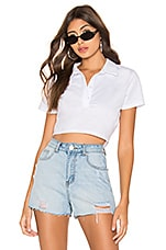 superdown Bernice Cropped Polo Top in White