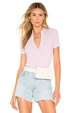 superdown Shania Ribbed Polo Top in Lavender