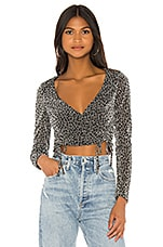 superdown Syna Ruched Top in Silver Leopard