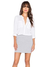 Button Up Shirt Dress in White & Heather Grey