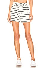 Splendid French Terry Shorts in Off White & Black