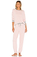 Splendid Long Sleeve PJ Set in Silver Pink Weekend Stripes