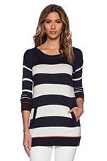 Cashmere Blend Stripe Sweater in Heather Navy & Heather White