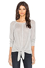 Tie Front Sweater in Light Heather Grey