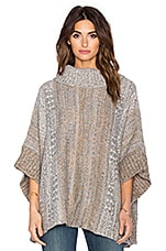 Snowfall Turtleneck Poncho in Warm Sand Muti